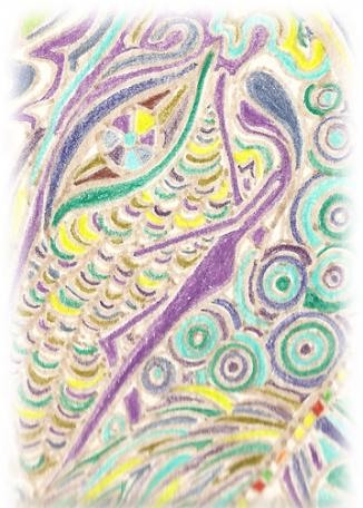 Dessin brut ou surréaliste mozaique au crayon de couleur.