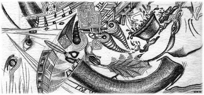 Dessin surréaliste au crayon gris.