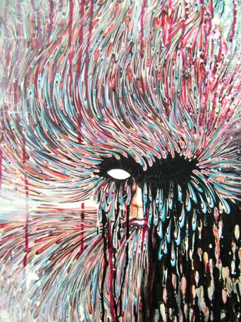 Tableau Kronos - Toile gouache acrylique cire