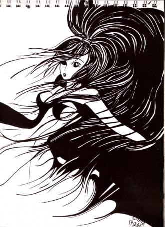 Falling Manga Black White